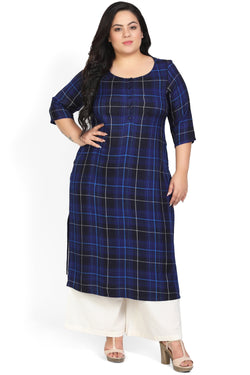 Navy Check Placket Closure Kurti
