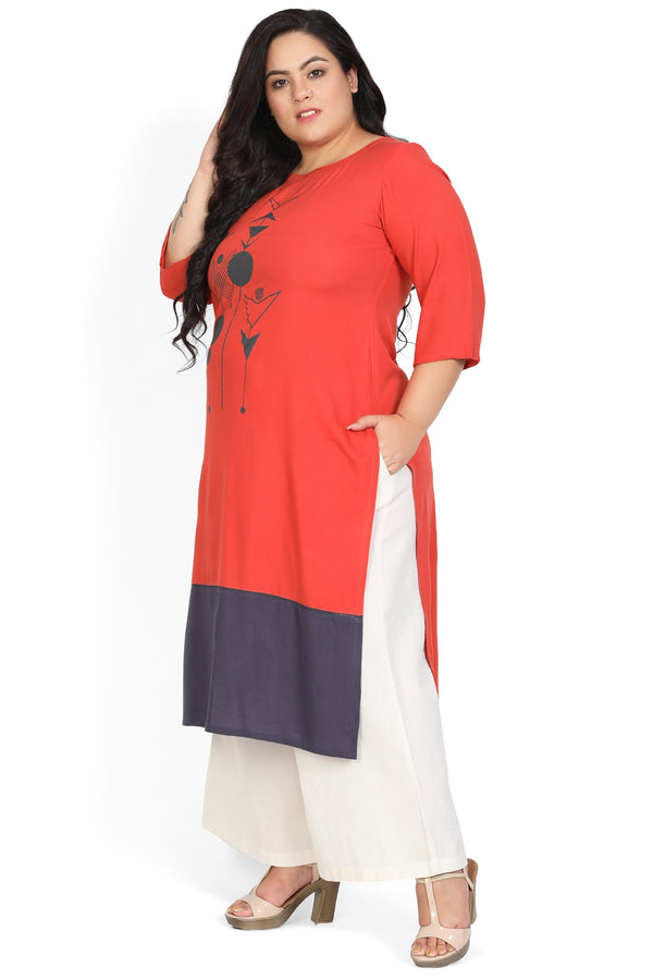 Rust Navy Bottom Panel Printed Kurti