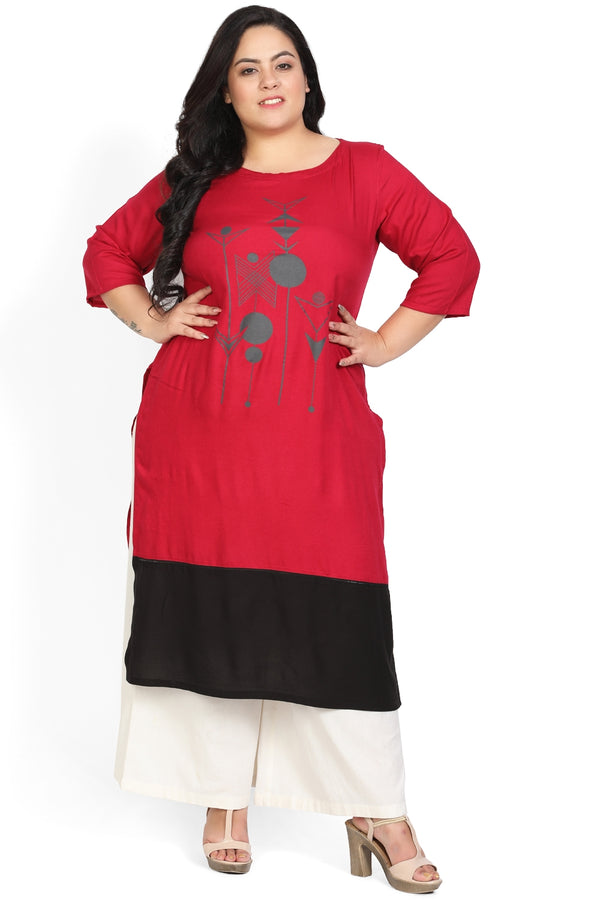 Ruby Pink Black Bottom Panel Printed Kurti