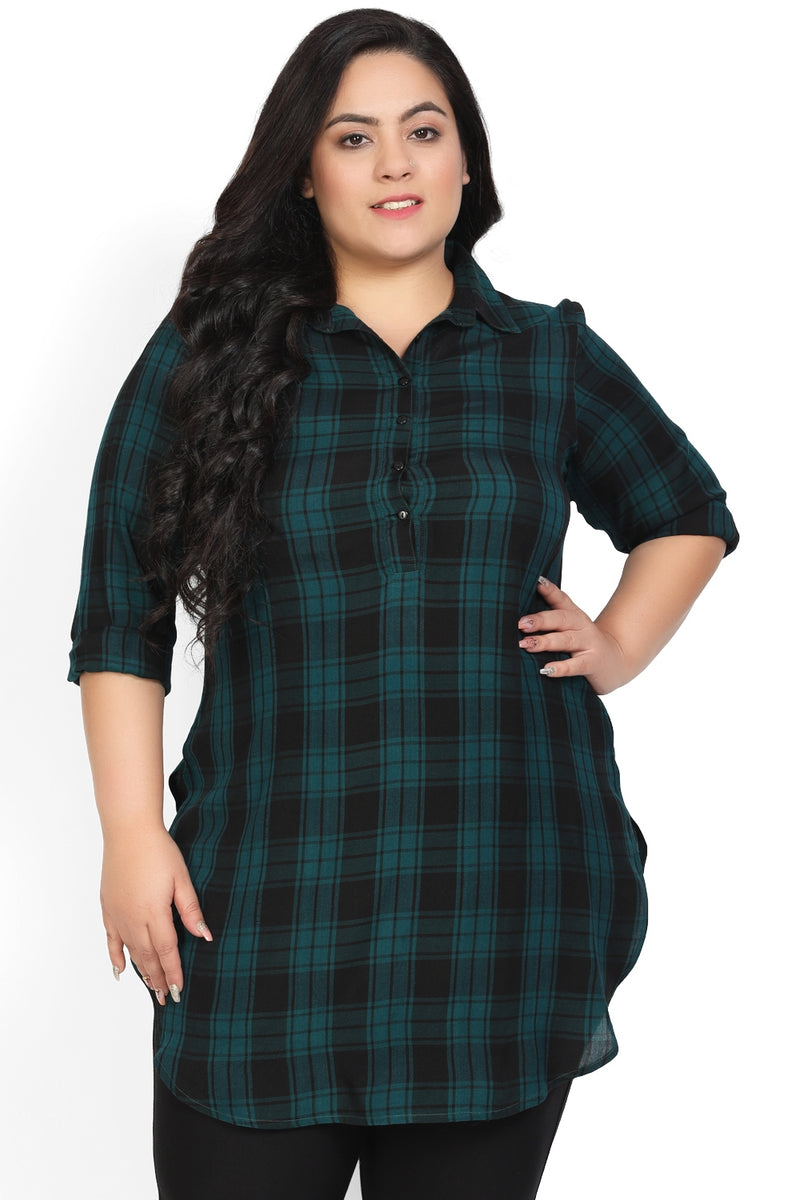 Teal Black Check Longline Shirt