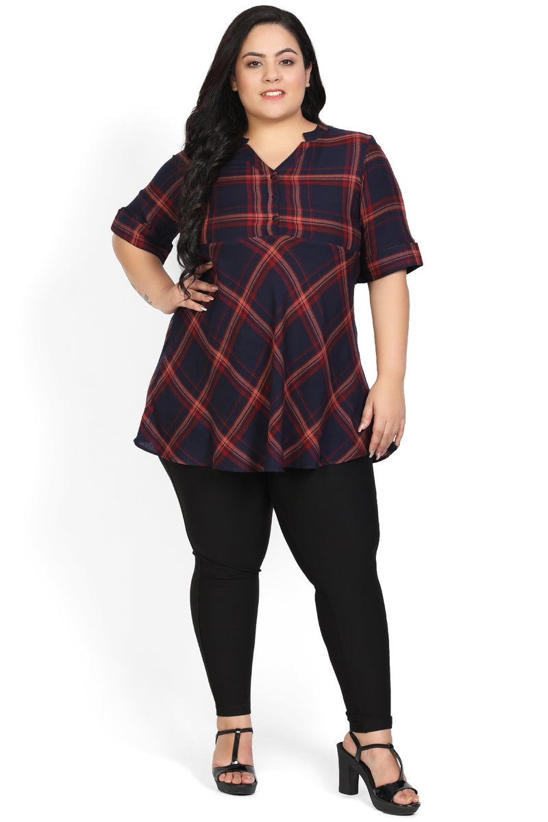 Rust Navy Check Peplum Top