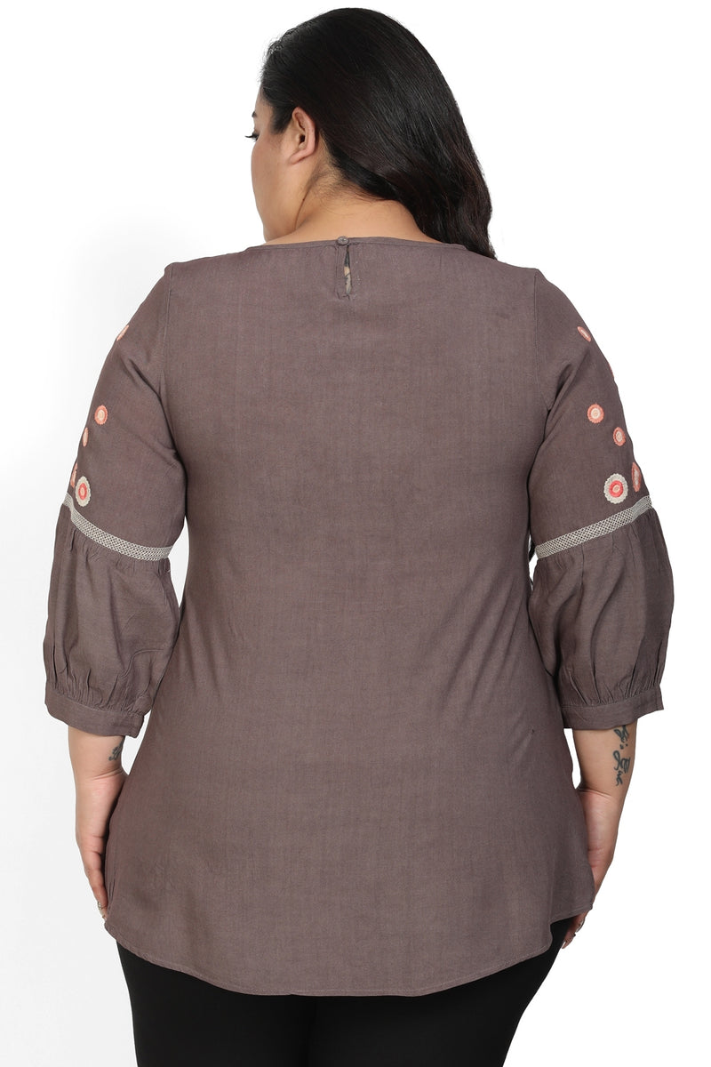 Grey Embroidered Yoke Top