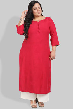 Ruby Red Button Detail Kurti