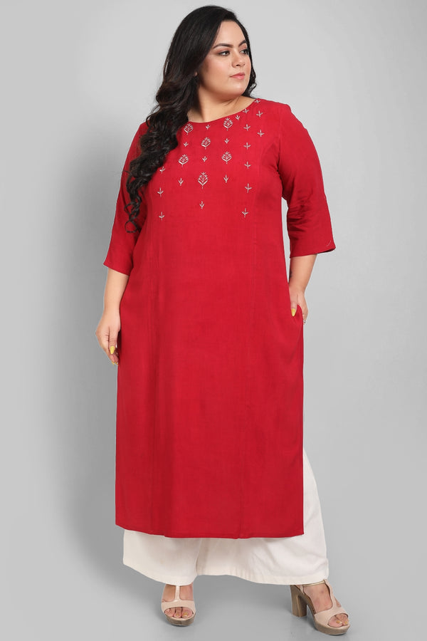 Ruby Red Silver Embroidery Princess Seam Kurti