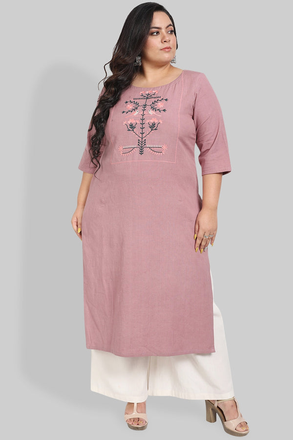 French Lilac Orchard Embroidery Kurti