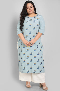 Ice Blue Owl Embroidery Kurti