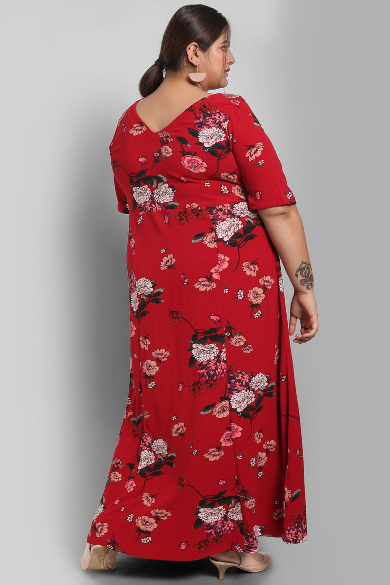 Maroon Floral Print Full Length Dress