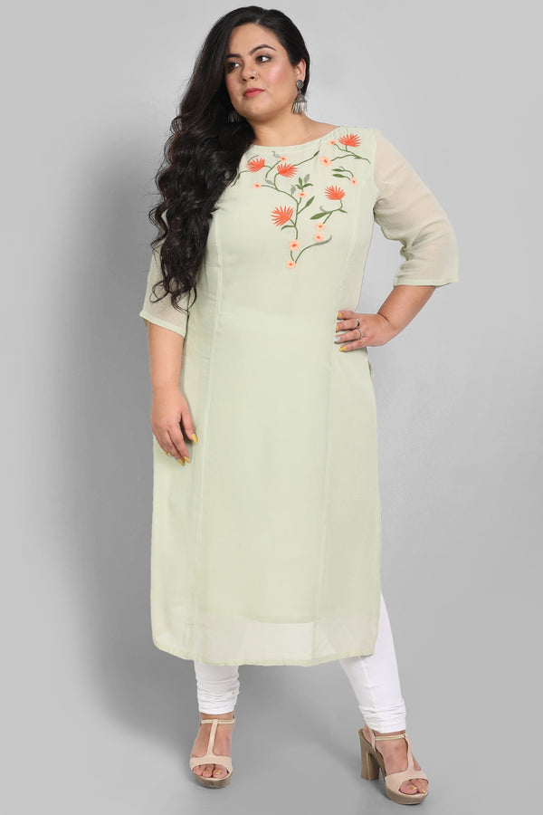 Tea Green Princess Seam Floral Embroidery Kurti