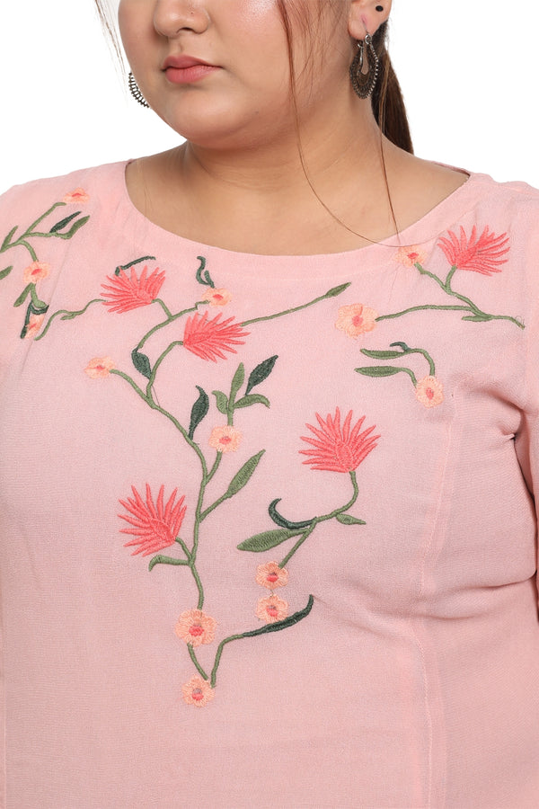 Pink Princess Seam Floral Embroidery Kurti