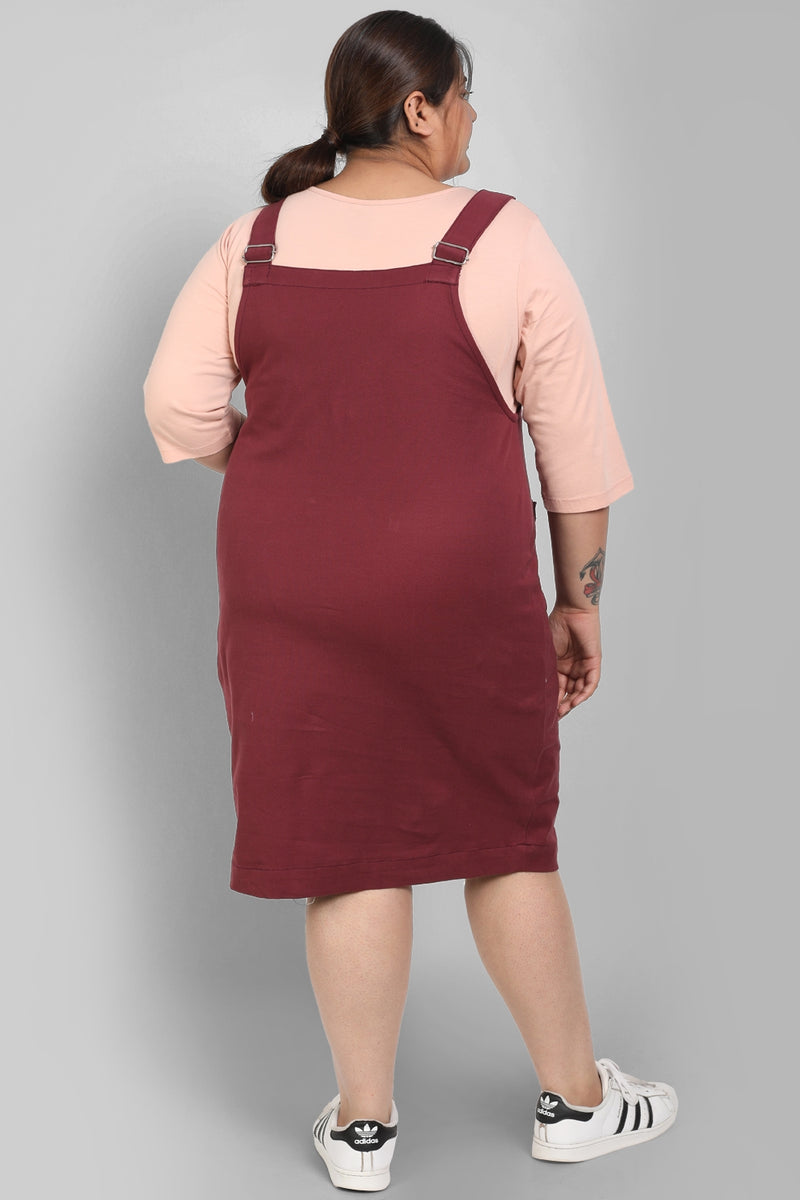 Burgundy Dungaree Skirt