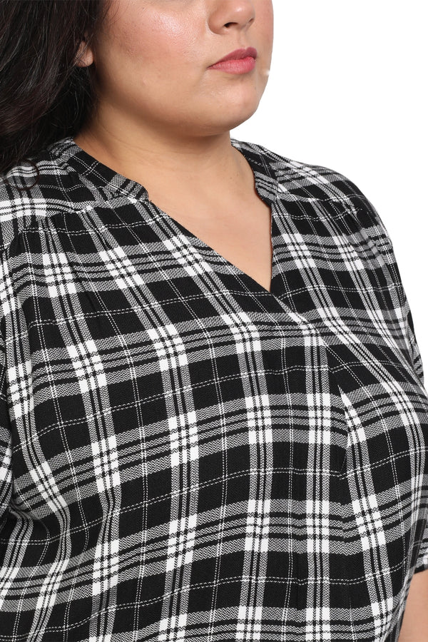 Black Check Centre Pleat Formal Blouse