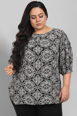 Black Motif Print Balloon Sleeve Top