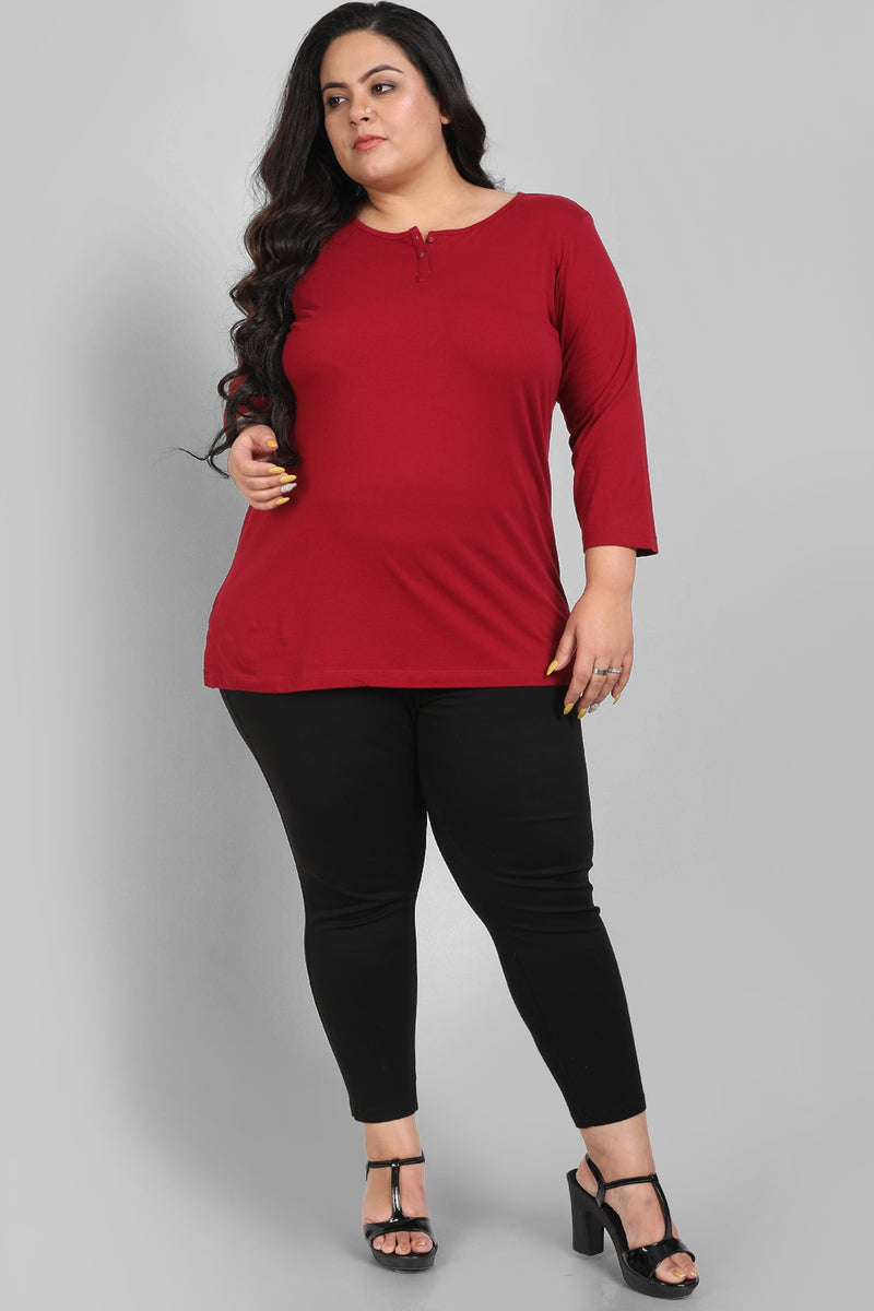 Chilly Red Henley T Shirt