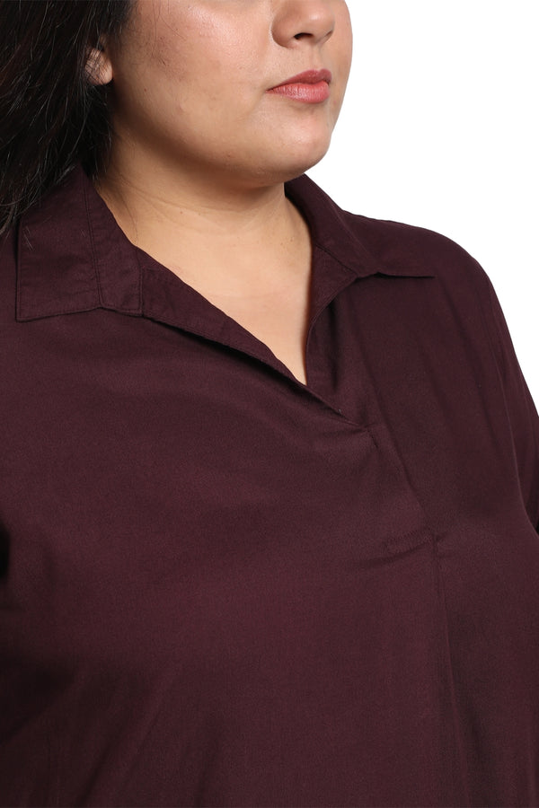 Plum Centre Pleat Collar Top