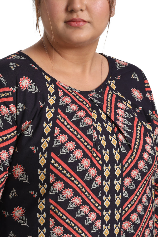 Boho Diagnoal Print Centre Pleat Top