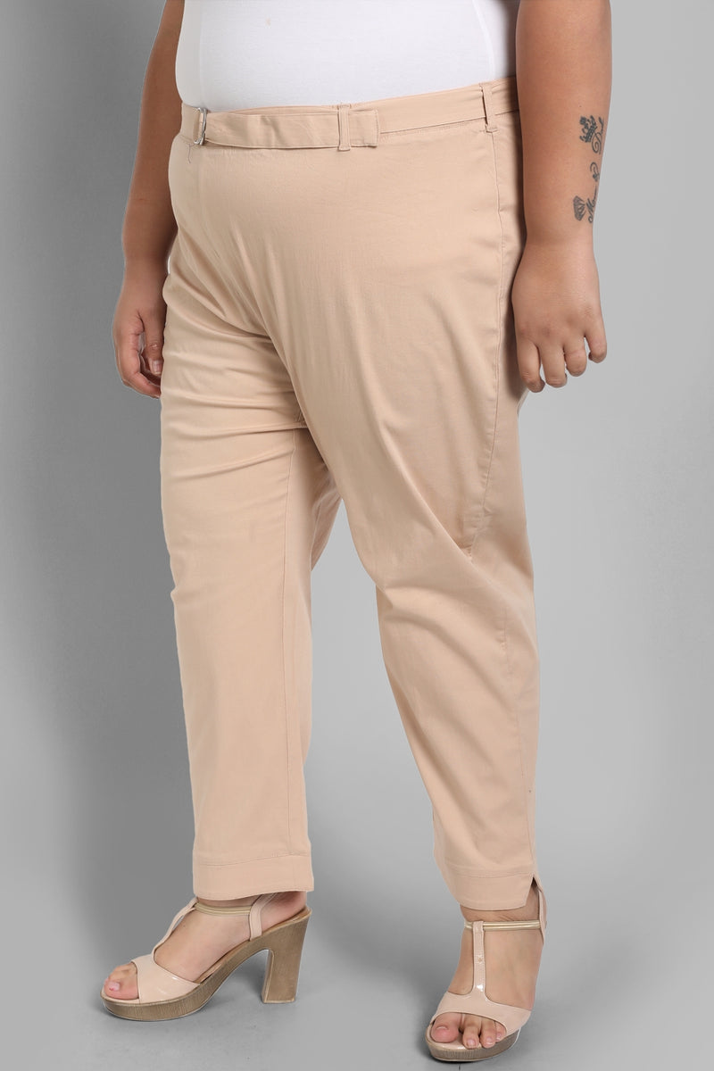 Beige Basic Stretchable Relax Trousers