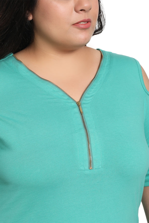 Florida Green Cold Shoulder Basic Top
