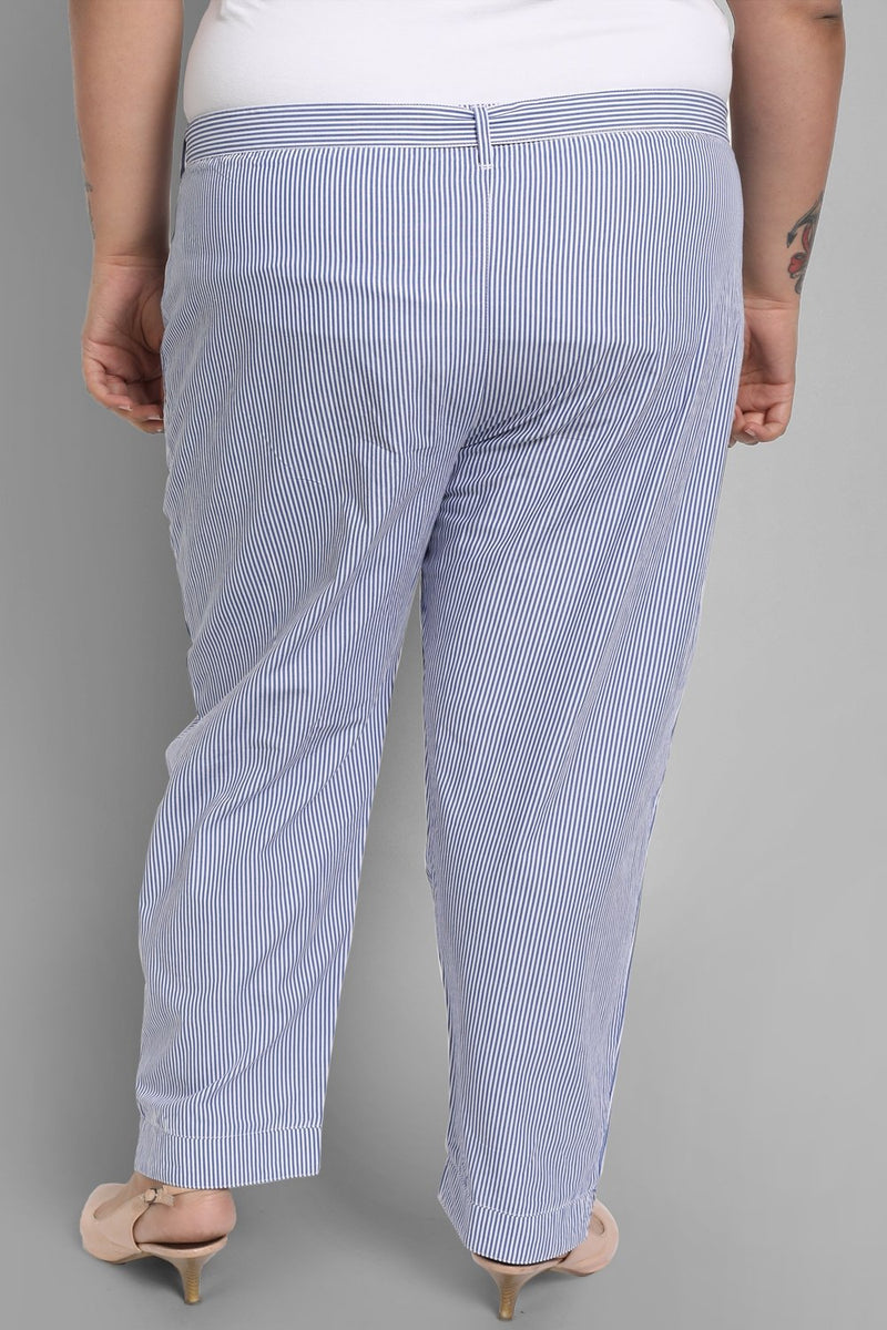 Blue White Stripe Relax Trousers