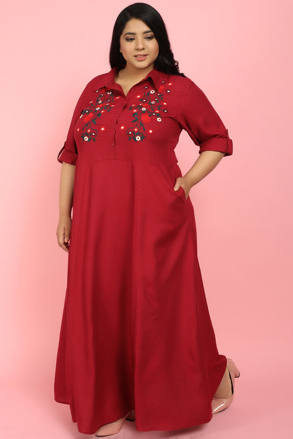 Maroon Embroidered Full Length Dress