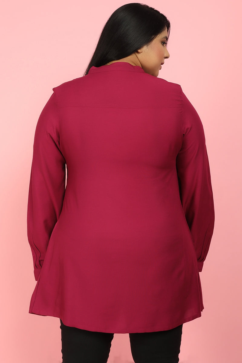 Wine Button Down Peplum Shirt
