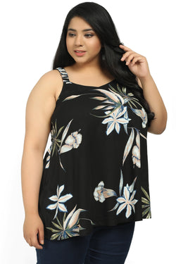 Black Floral Strappy A Line Top