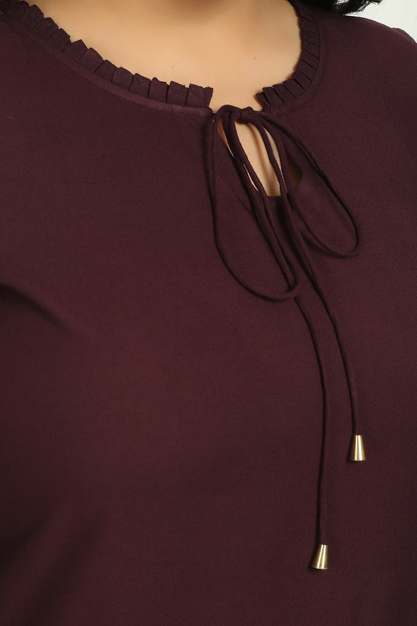Plum Mandarin Collar Tie Neck Top