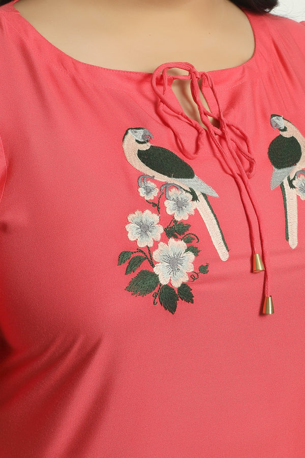 Coral Bird Embroidery Layer Sleeve Top