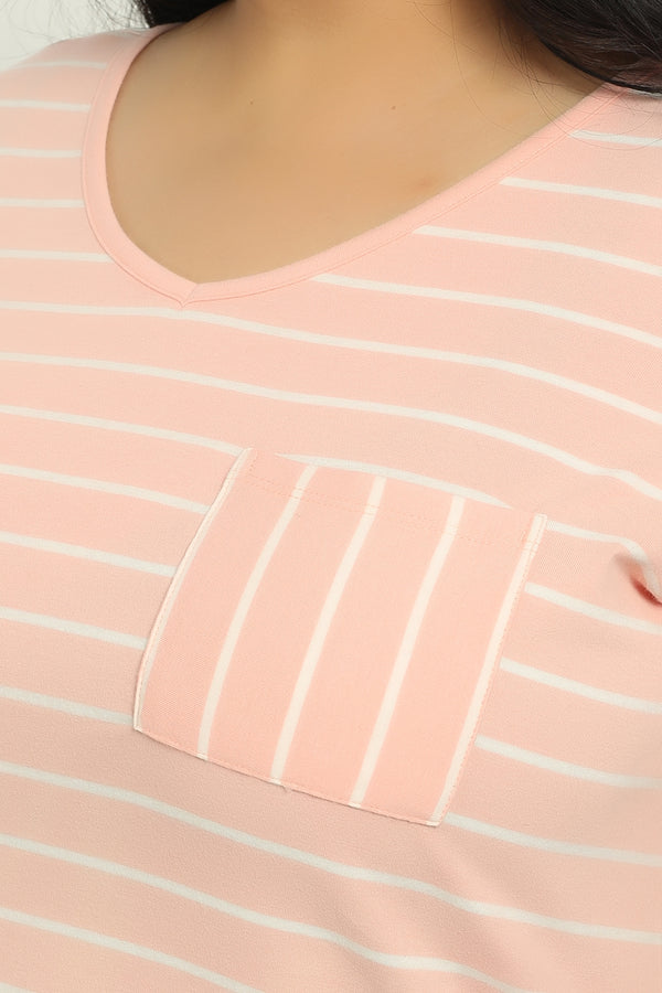 Peach Stripe Basic V Neck Tee