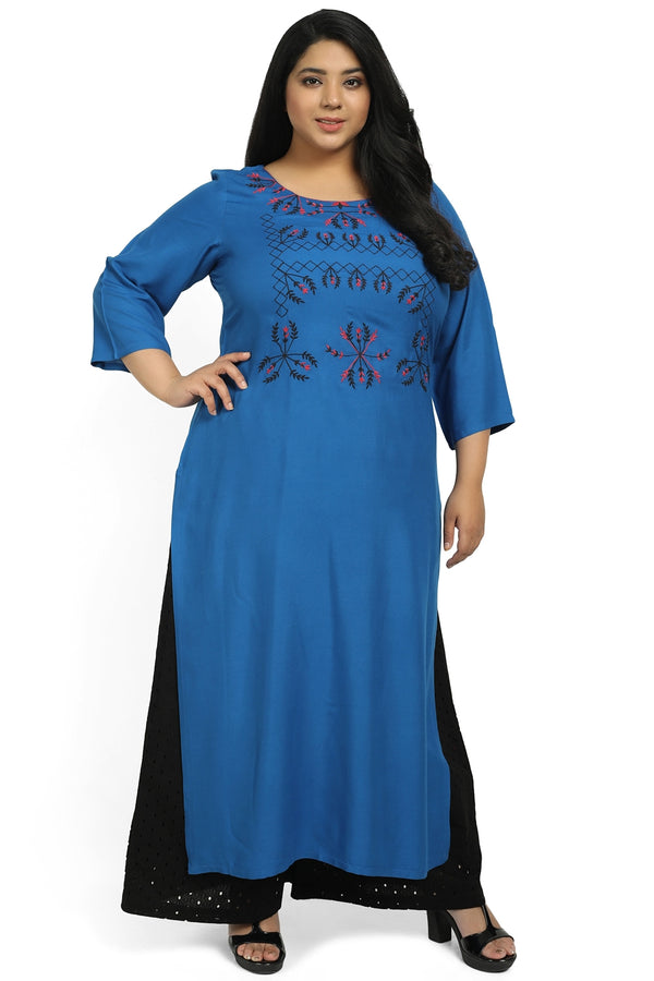 Royal Blue RedEmbroidery Kurti