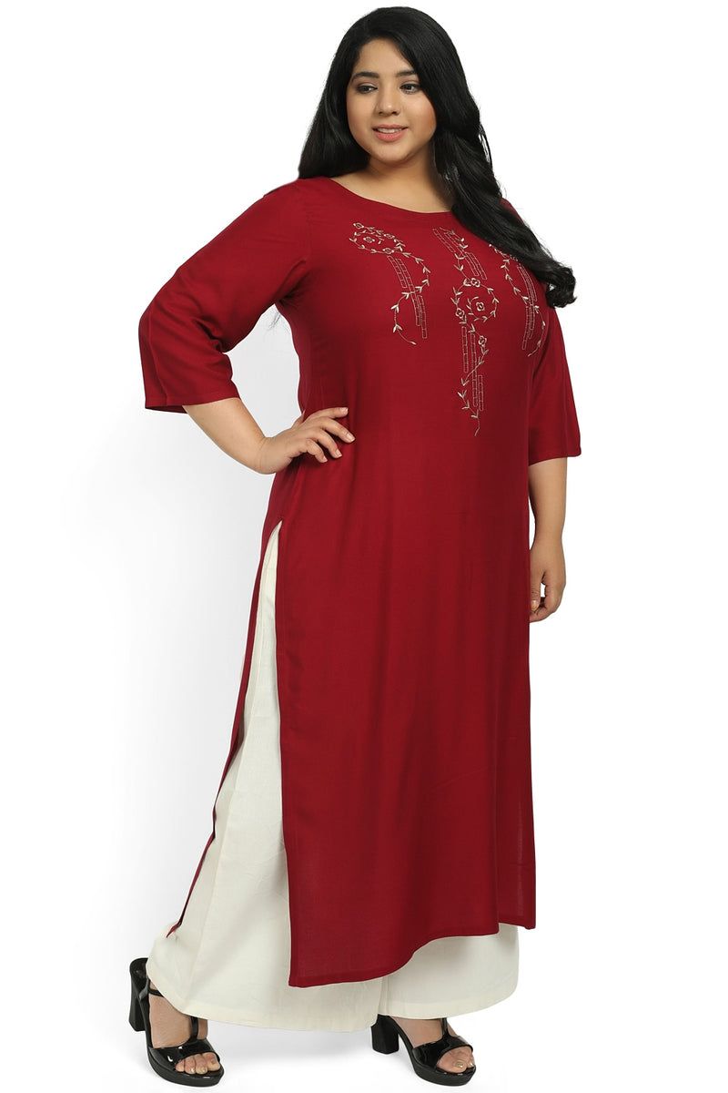 Chilly Red Beige Yoke Embroidery Kurti