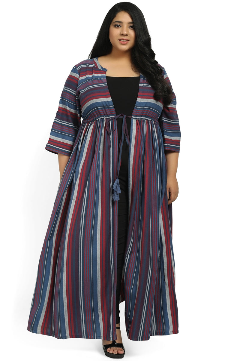 Blue Multi Printed Drawstring Cape Shrug