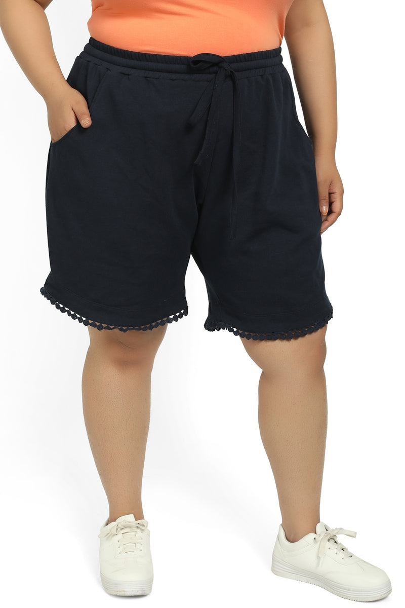 Navy Lace Trim Lounge Shorts