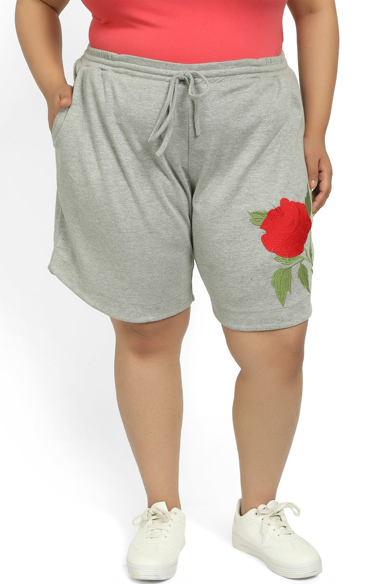 Grey Embroidered Relax Shorts
