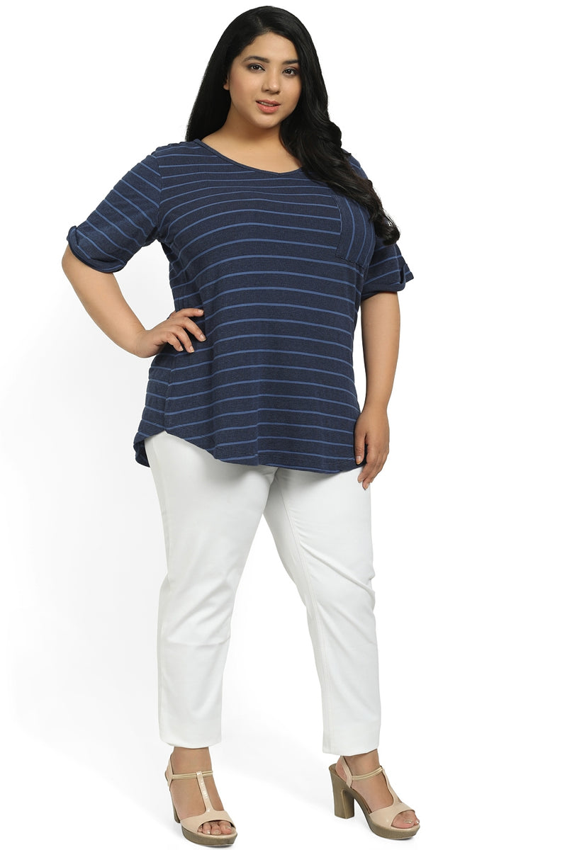 Blue Stripe Basic V Neck Tee