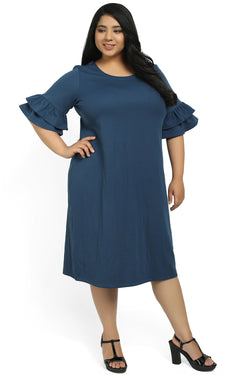 Teal Solid Frilled Sleeve Dress