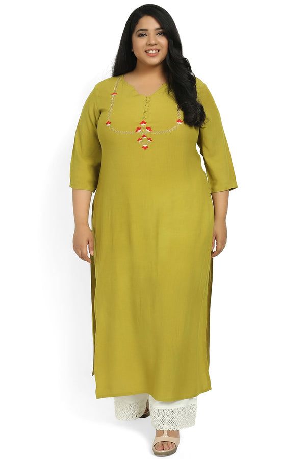 Lemon Green Yoke Embroidery Ankle Length Kurti