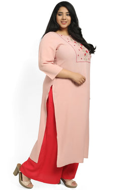 Rose Pink Yoke Embroidery Keyhole Kurti