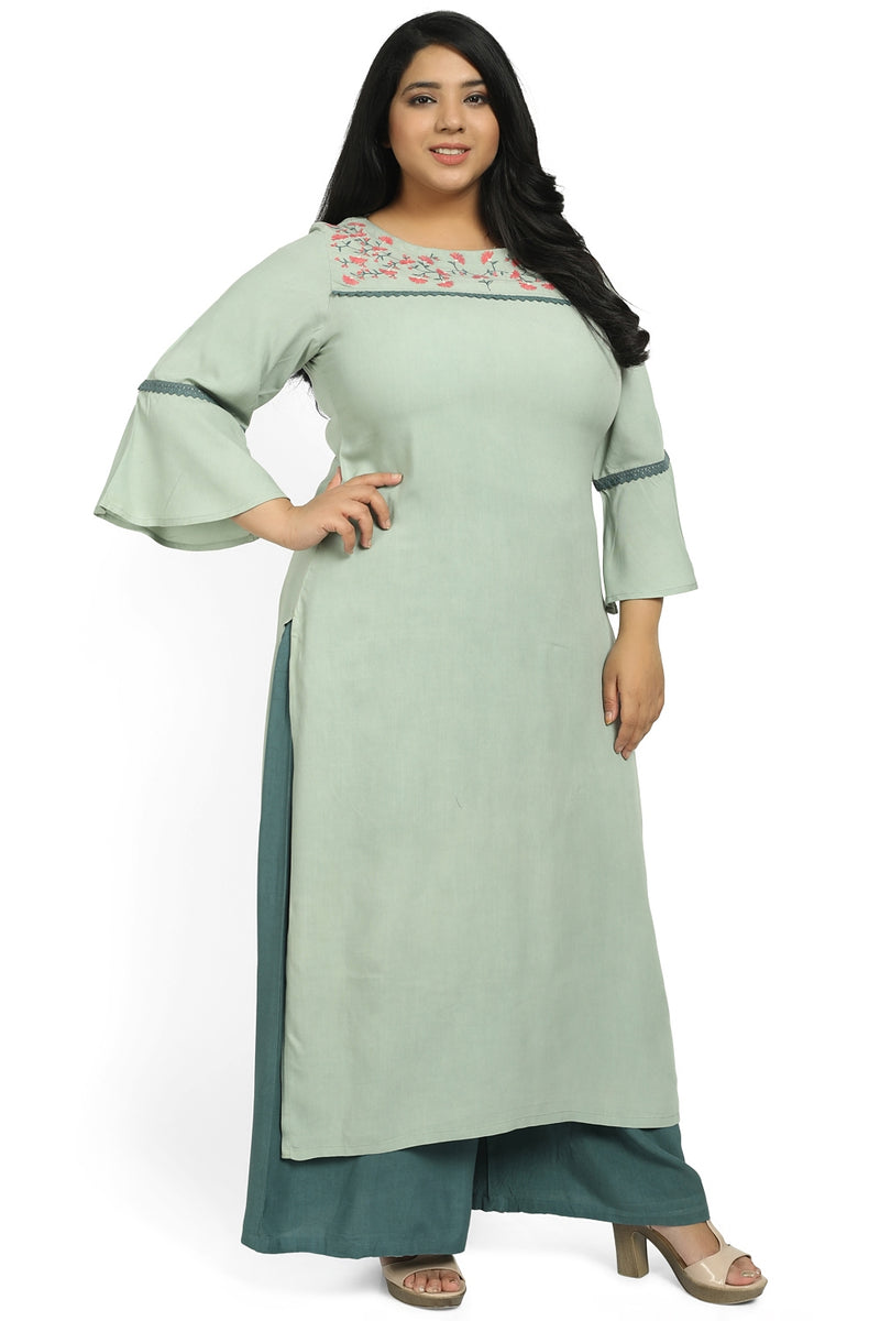 Tea Green Embroidery & Bell Sleeve Kurti