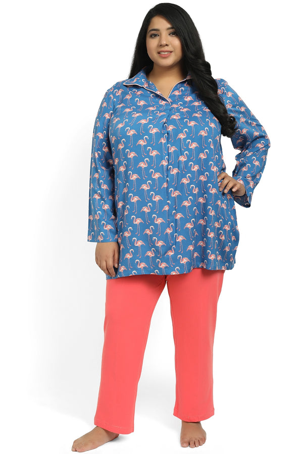 Blue Flamingo Print Night Suit Shirt
