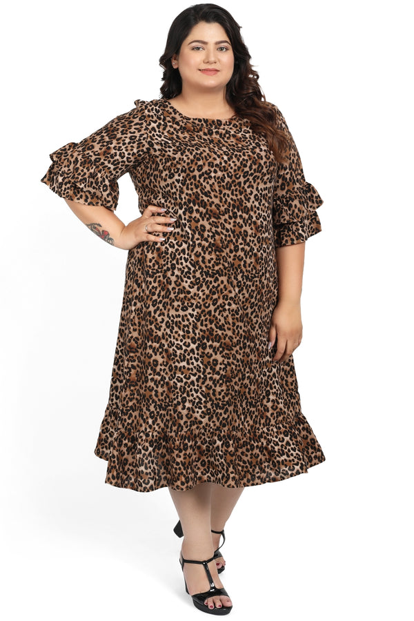 Leopard Print Flounce Sleeve Dress