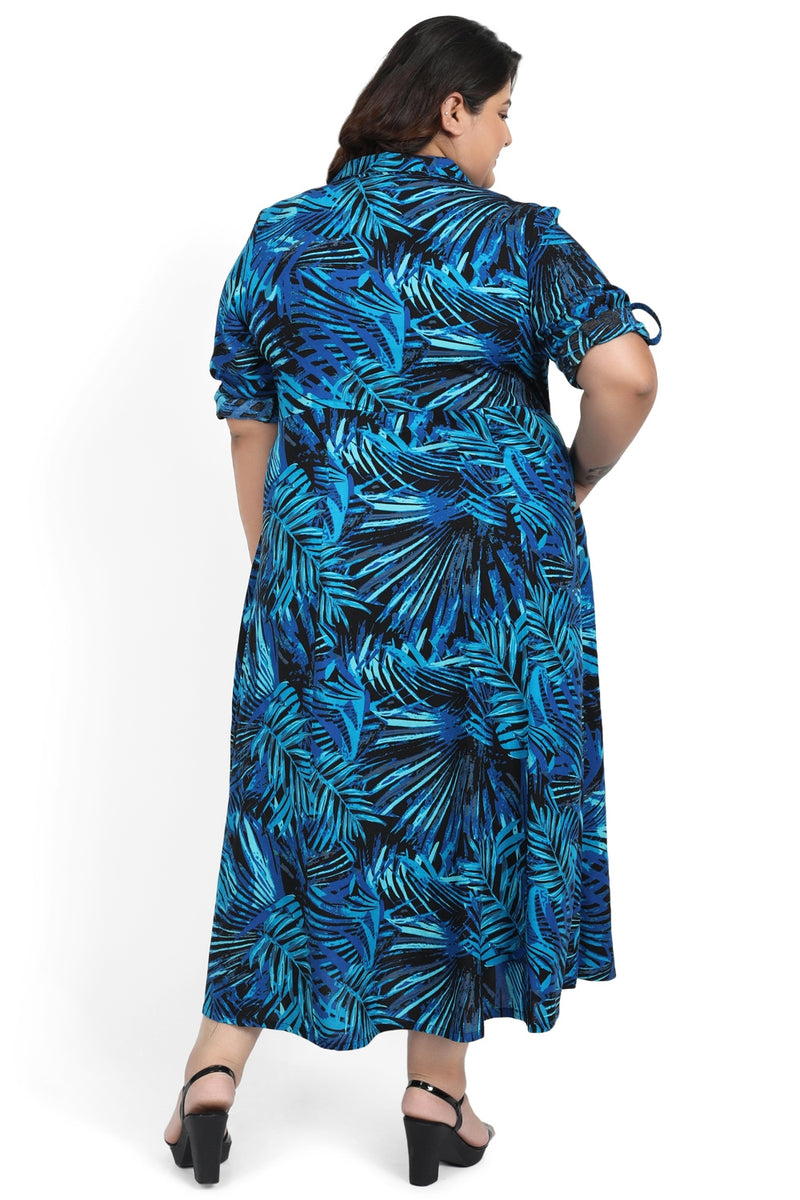 Blue Leaf Print Full Length Dress