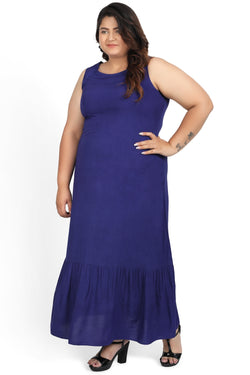 Blue Basic A Line Sleeveless Kurta