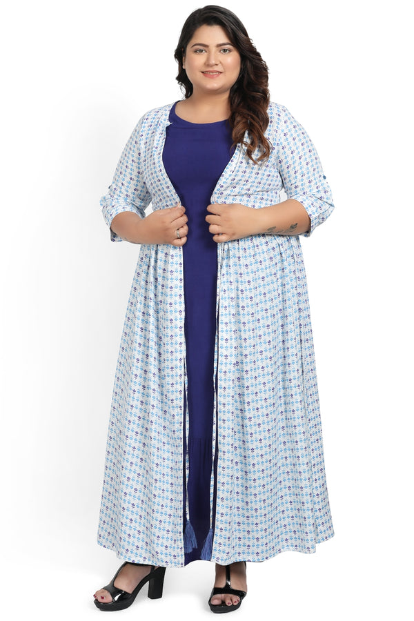 Blue White Motif Printed Drawstring Cape Shrug