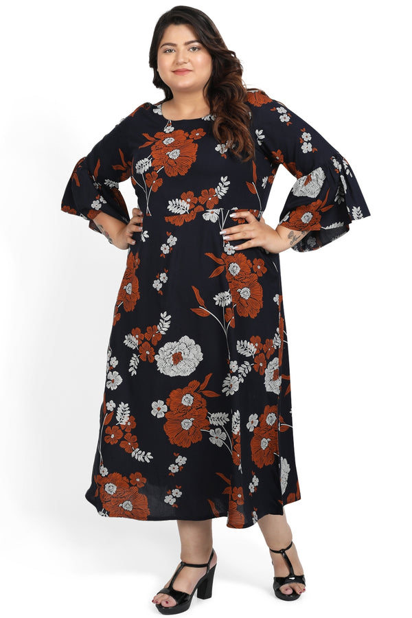 Navy Floral Print A-Line Tunic