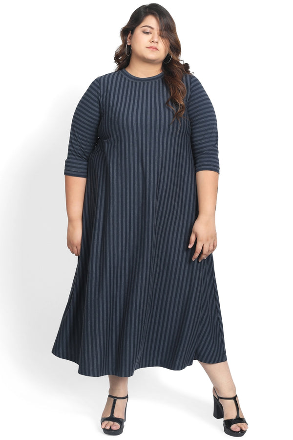 Navy Stripe A Line Midi Dress