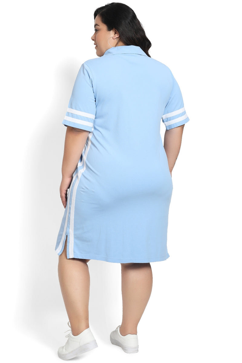 Powder Blue White Detail Polo Dress
