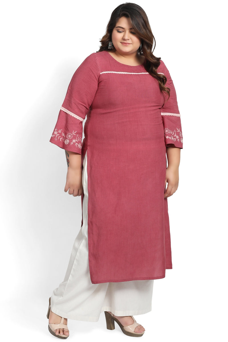 Cedar Pink Lace & Embroidery Frill Sleeve Kurti