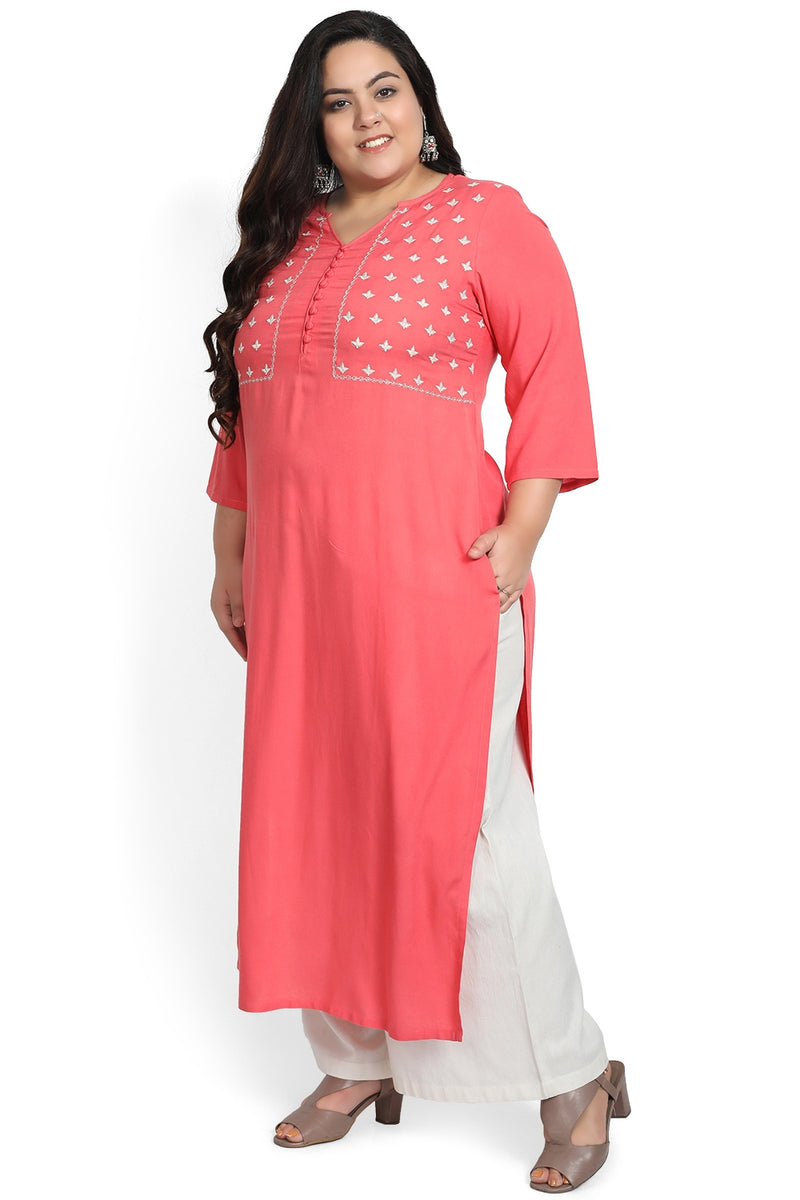 Coral Pink Yoke Embroidery Ankle Length Kurti