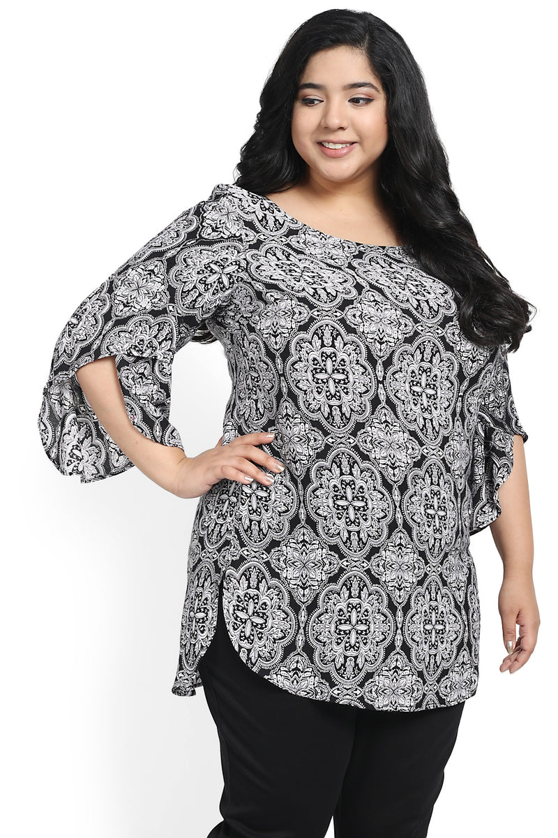 Black Motif Print Petal Sleeve Top