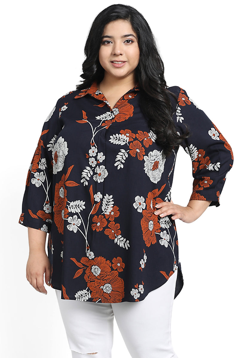 Navy Floral Print Centre Pleat Collar Top